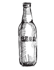 Vector image of a beer bottle.Hand drawing.
