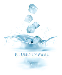 Ice cubes falling to water. Vector illustration.