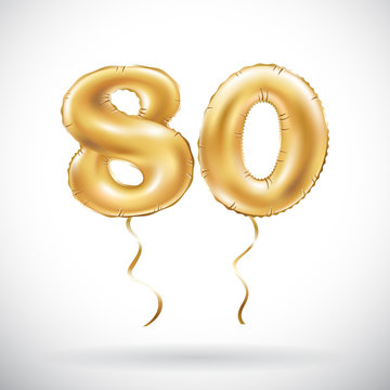 vector Golden number 80 eighty balloon. Party decoration golden balloons. Anniversary sign for happy holiday, celebration, birthday, carnival, new year.