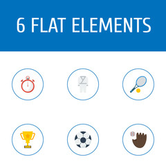 Flat Icons Uniform, Trophy, Ball And Other Vector Elements. Set Of Activity Flat Icons Symbols Also Includes Kimono, Tennis, Stopwatch Objects.