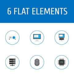 Flat Icons Laptop, Display, Microprocessor And Other Vector Elements. Set Of PC Flat Icons Symbols Also Includes PC, Display, Datacenter Objects.