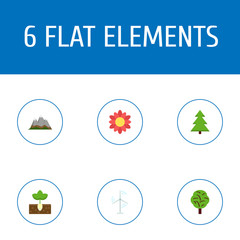 Flat Icons Electric Mill, Blossom , Landscape Vector Elements. Set Of Nature Flat Icons Symbols Also Includes Flower, Nature, Power Objects.