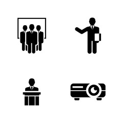 Presentation. Simple Related Vector Icons Set for Video, Mobile Apps, Web Sites, Print Projects and Your Design. Black Flat Illustration on White Background.