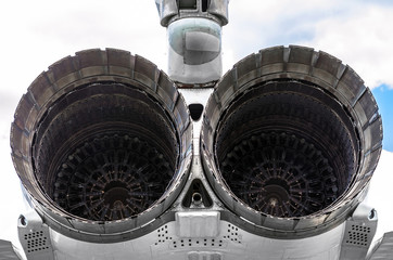 Huge turbines of the aircraft engine of a military fighter