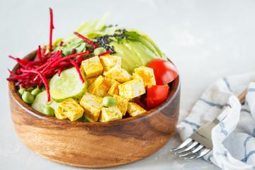 buddha bowl with tofu, zucchini pasta