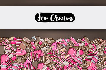 Ice cream cartoon doodle design. Cute background concept for party greeting card,  decoration, advertisement, banner, flyer, brochure. Hand drawn vector illustration.