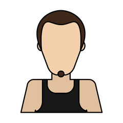 man with goatee and tank top avatar icon image vector illustration design