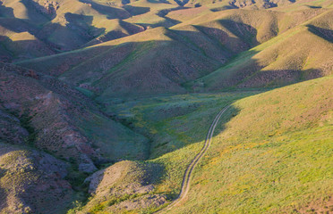 The road in steppe in Kazakhstan. Top view