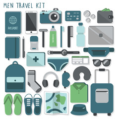Men travel kit. Vector illustration. Cute cartoon flat style. Big set of icons. All stuff that you need in a trip. Necessary things that you should take with you in journey