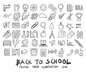 Vector illustration set of School education line icons with white background eps10