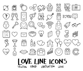 Vector illustration set of Wedding and love line icons with white background eps10