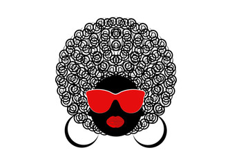 portrait African Women , dark skin female face with hair afro and red glasses on isolated background