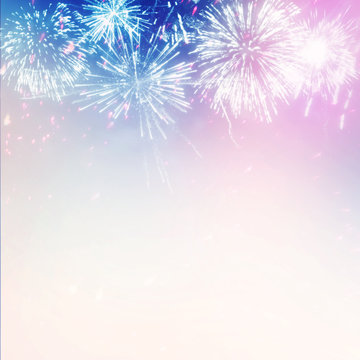 Fireworks Display on Bright Festive Holiday Background