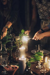 Women Lighting Up Sparklers