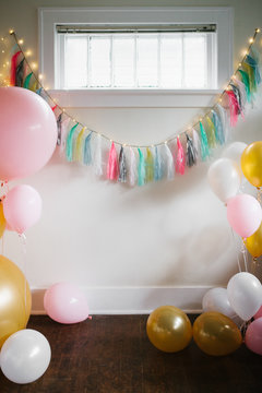 Colorful Party Decorations with Balloons and Lights