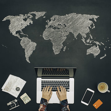 Traveler planning a new tour