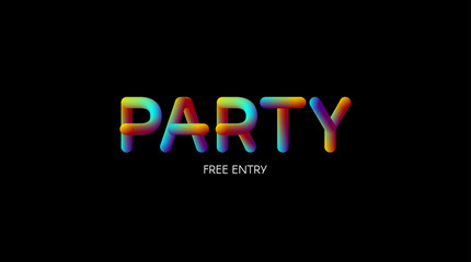 3d iridescent gradient Party sign.