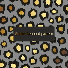 Vector leopard pattern with gold on a gray background. Decorative background for the design of surfaces, covers, posters, banners, sales, printing, creative design and advertising projects