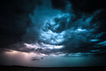Dramatic thunderstorm. Wall mural