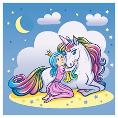 Little Princess Girl and Cute Unicorn, vector illustration