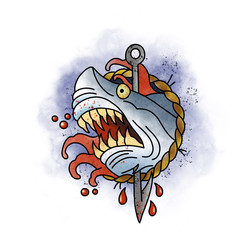 Stylized shark. Tattoo design. Cartoon illustration, hand drawn style.
