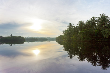 Glassy surface; Lake Marawila, Sri Lanka