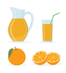 Orange juice set on white background. Flat style vector illustration.