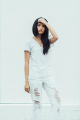 Young Woman in all White