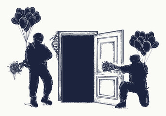 Arrest of criminal tattoo creative art. Police capture. Military with flowers and balloons. Symbol of social problems, war and peace, freedom of speech t-shirt design