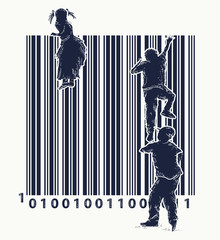 Bar code tattoo. Children climb over fence. Symbol of freedom and slavery, consumer society, globalization, future of mankind, digital world, big brother. Bar code street art. Creative t-shirt design
