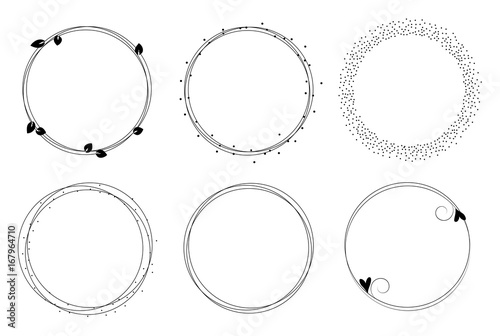 Circle Templates | Set Of Vector Graphic Circle Frames Wreaths For Design Logo
