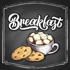 Hand lettering Good morning on retro black chalkboard background with hand-drawn cup of coffee or cacao with marshmallow and cookies. Vector vintage illustration.