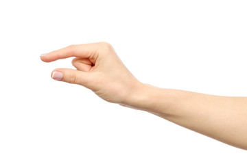 Hand showing size gesture isolated