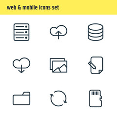 Vector Illustration Of 9 Memory Icons. Editable Pack Of Agreement, Memory, Cloud And Other Elements.