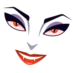 Lady vampire's smiling face