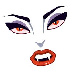 Lady vampire's snarling face