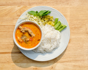 Kanom Jeen Nam Ya, Noodles with fish curry sauce, rice vermicelli, Thai rice noodles, Thai food, Thailand