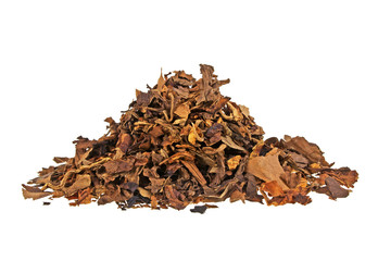 Heap of smoking tobacco isolated on a white background
