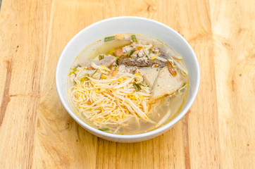 Spicy TOM YAM Stewed pork noodle soup with lemongrass, chilly pasted and lime juice