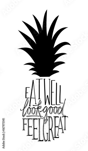 Eat Well Look Good Feel Great Quote Design In The Shape Of A