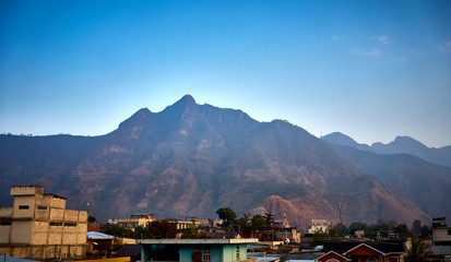 Wall Murals Nepal Volcanic highlands of Atitlan in Guatemala / This Mountain is called