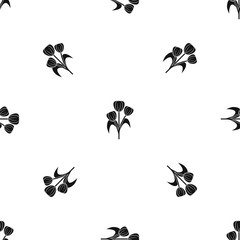 Flowers pattern seamless black