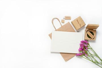 Beautiful white wedding photobook and Usb flash drive in Handmade wooden box. wedding concept