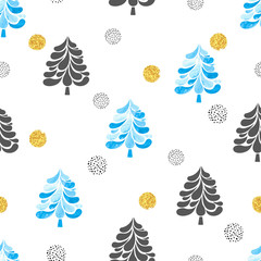 Christmas trees seamless pattern. Vector trendy holiday background with fir-trees in black, blue and golden colors.