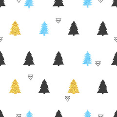 Christmas trees pattern. Seamless vector holiday background in blue, black and golden colors.