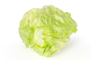 Iceberg lettuce front view on white background. Also crisphead, a fresh light green salad head. Sometimes called cabbage lettuce. Variety of Lactuca sativa. Macro food photo close up.