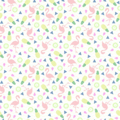Flamingo seamless pattern. Background with tropical flamingos.