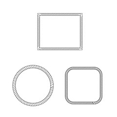 Set of round vector frames from nautical rope isolated on white background. Collection of thick and thin brushes to design frames borders and divider simulating a braided rope.