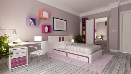 teen girl bedroom design idea