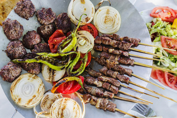 Turkish Traditional Food named as stick kebap